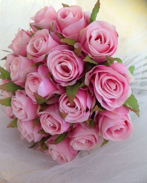 Pins Posy Wedding Bouquet Artificial Silk Flowers Petals N Pods