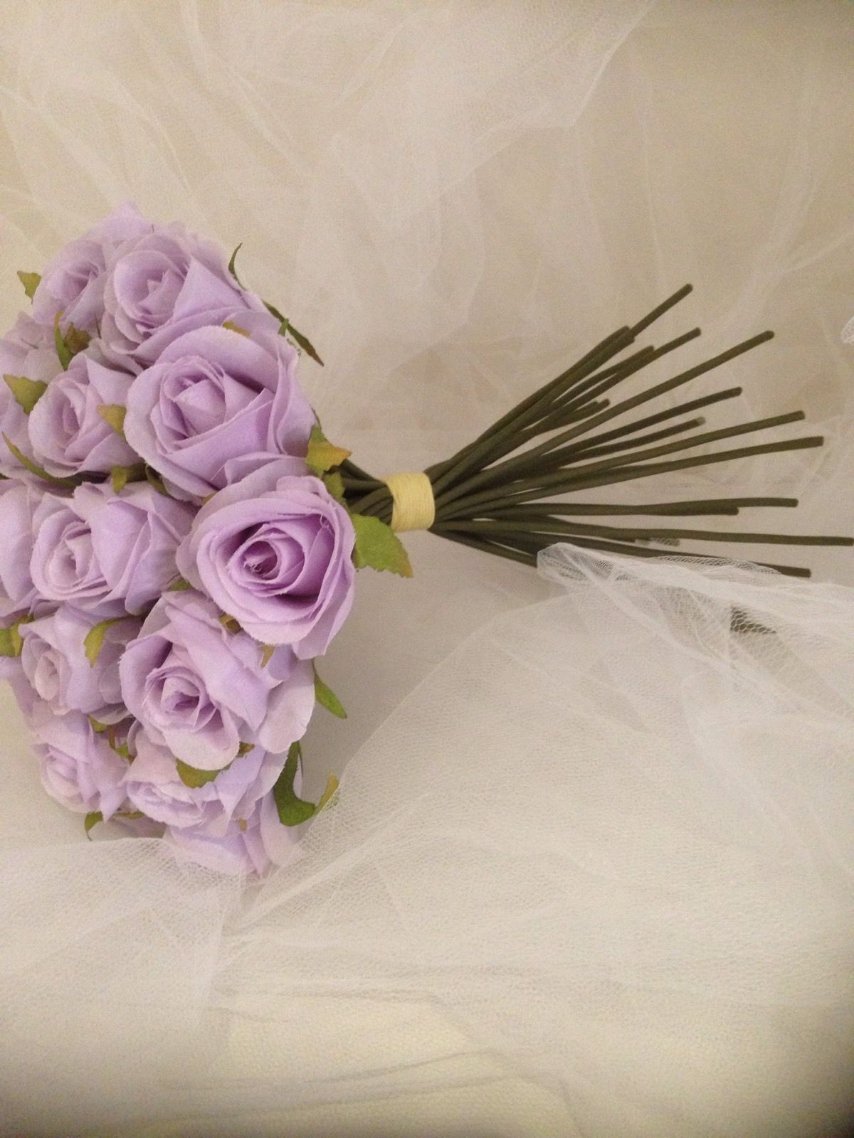 Lilac Lavender Rose 26 Stems Bridal Bouquet Stem Artificial Silk ...