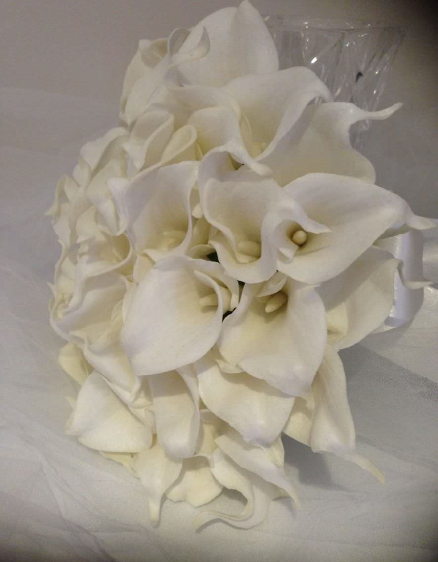 1b90d473103076 CALLA LILY WEDDING IVORY 54 STEMS Artificial Flower BOUQUET 'Real ...