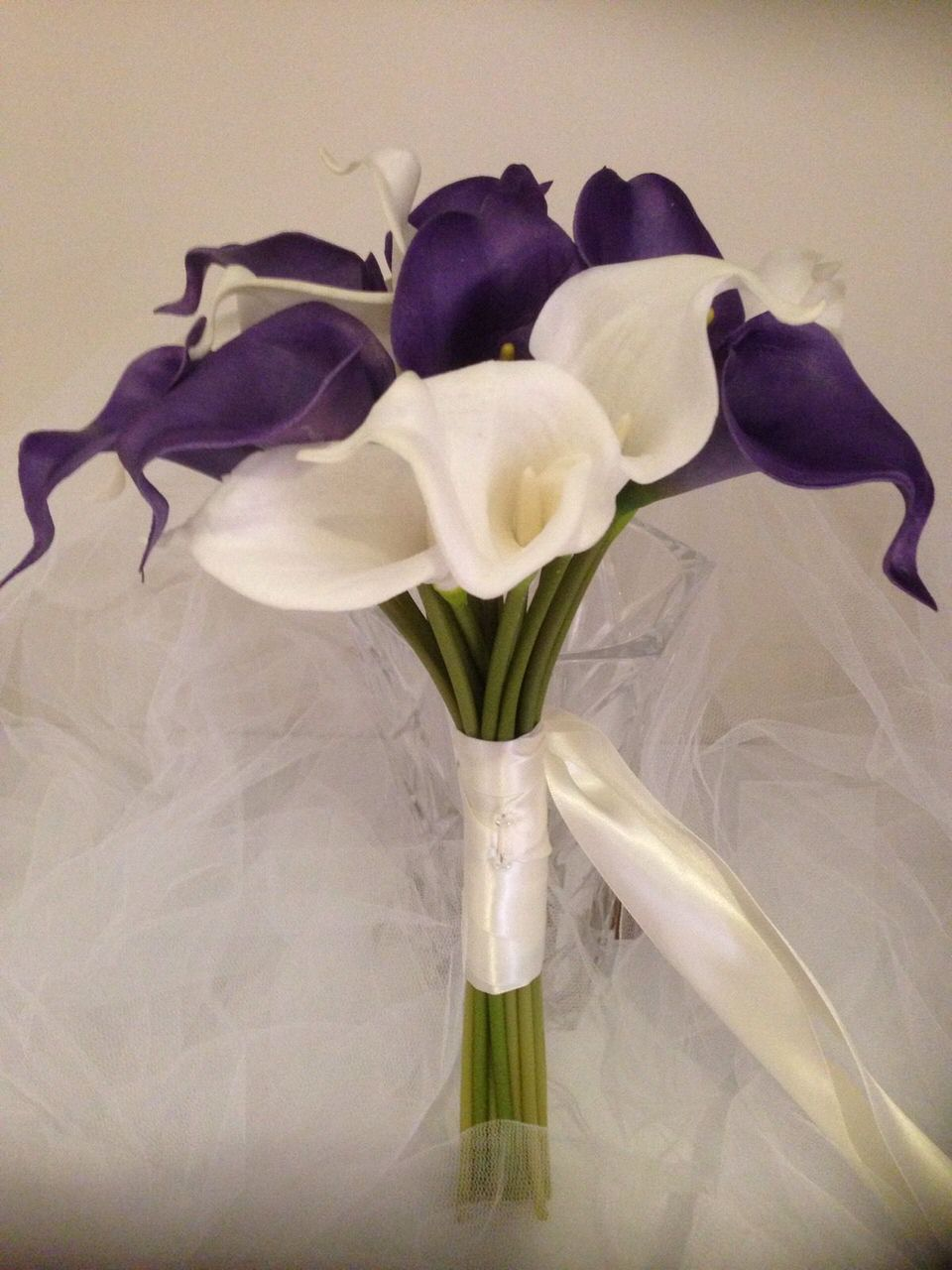 Calla lillY Wedding Bouquet 18 Stems IVORY & PURPLE Real Touch ...