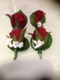 Red Ivory Rose Button Holes Package.