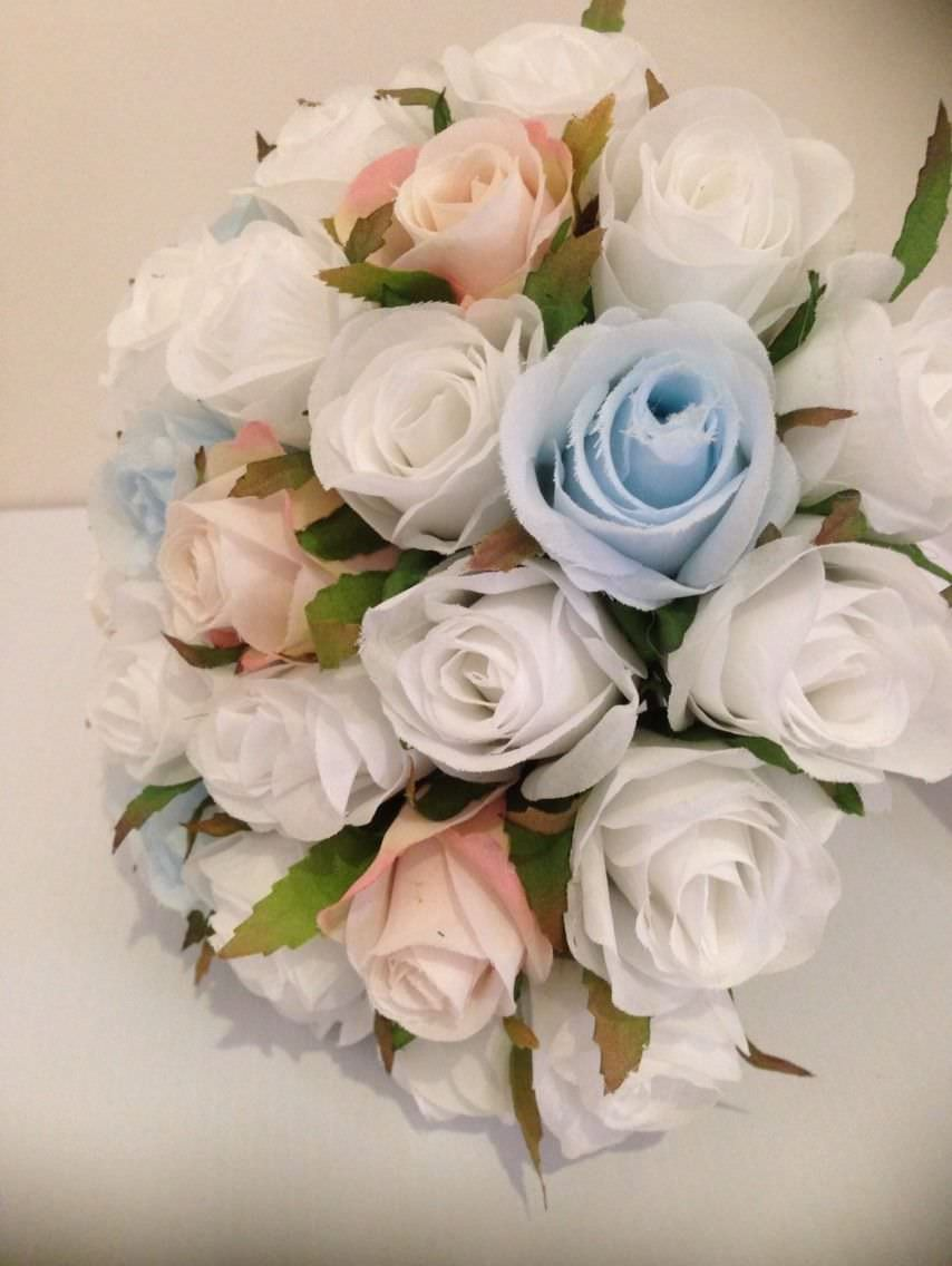 White Light Blue Pink Roses Posy 33 Buds Wedding Artificial Silk Flower Petals N Pods Bridal