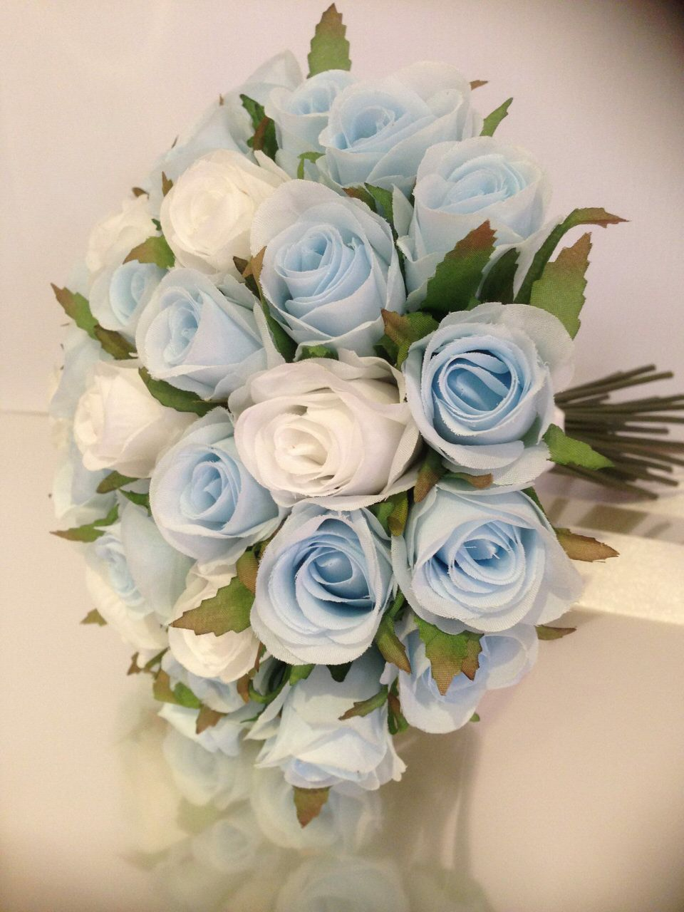 Light Blue White Roses Posy 33 Buds Wedding Bouquet Artificial Silk Flower Petals N Pods Bridal