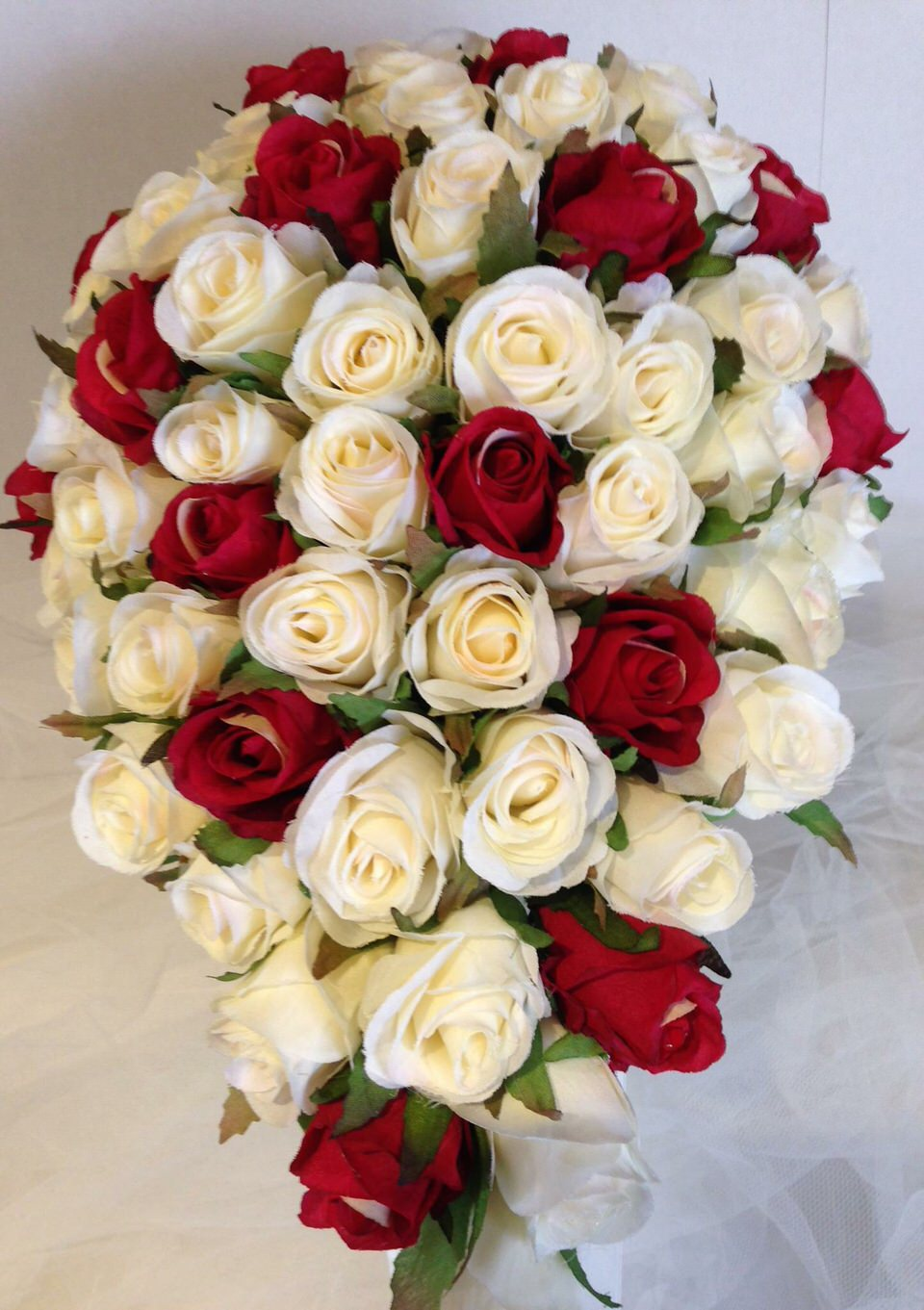 Ivory Bright Red Roses Teardrop 60 Buds Wedding Bouquet Artificial